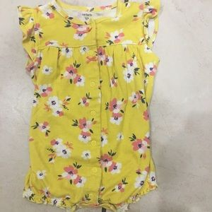 Carter's Yellow Floral Girl One Piece Dress 12